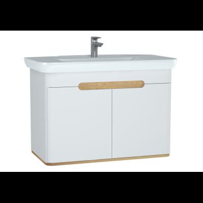 Sento lavabo dolabı, kapaklı, ayaksız, 100 cm, mat beyaz