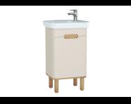 60788 - Sento lavabo dolabı, kapaklı, ayaklı, 50 cm, mat krem, sağ