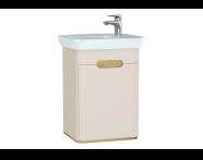 60789 - Sento lavabo dolabı, kapaklı, ayaksız, 50 cm, mat krem, sağ