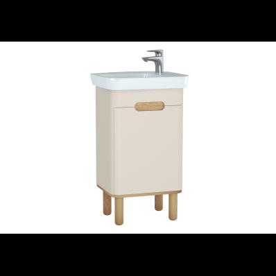 Sento lavabo dolabı, kapaklı, ayaklı, 50 cm, mat krem, sol