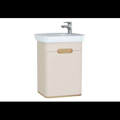 Sento lavabo dolabı, kapaklı, ayaksız, 50 cm, mat krem, sol