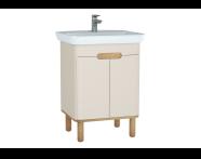 60792 - Sento lavabo dolabı, kapaklı, ayaklı, 65 cm, mat krem