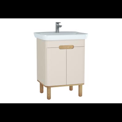 Sento lavabo dolabı, kapaklı, ayaklı, 65 cm, mat krem