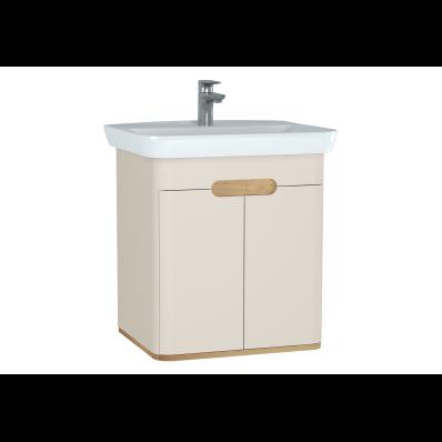 Sento lavabo dolabı, kapaklı, ayaksız, 65 cm, mat krem