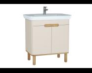 60796 - Sento lavabo dolabı, kapaklı, ayaklı, 80 cm, mat krem