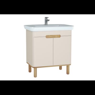 Sento lavabo dolabı, kapaklı, ayaklı, 80 cm, mat krem