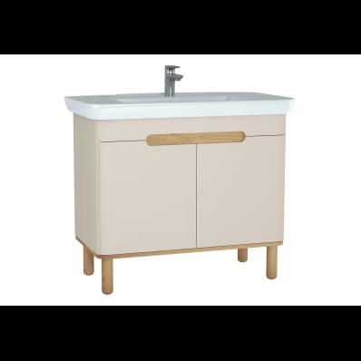 Sento lavabo dolabı, kapaklı, ayaklı, 100 cm, mat krem