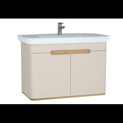 Sento lavabo dolabı, kapaklı, ayaksız, 100 cm, mat krem