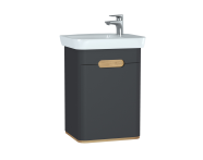 60801 - Sento lavabo dolabı, kapaklı, ayaksız, 50 cm, mat antrasit, sağ