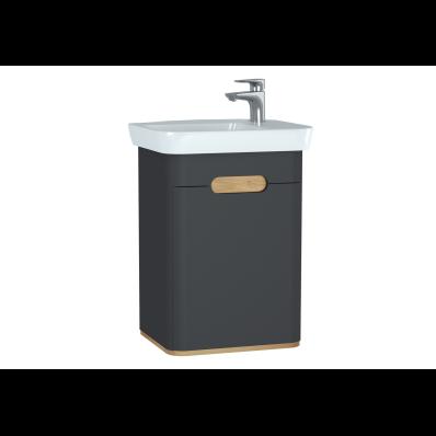 Sento lavabo dolabı, kapaklı, ayaksız, 50 cm, mat antrasit, sağ
