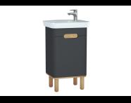 60802 - Sento lavabo dolabı, kapaklı, ayaklı, 50 cm, mat antrasit, sol
