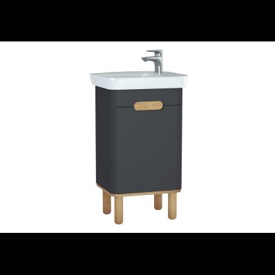 Sento lavabo dolabı, kapaklı, ayaklı, 50 cm, mat antrasit, sol