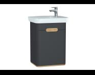 60803 - Sento lavabo dolabı, kapaklı, ayaksız, 50 cm, mat antrasit, sol