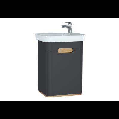 Sento lavabo dolabı, kapaklı, ayaksız, 50 cm, mat antrasit, sol
