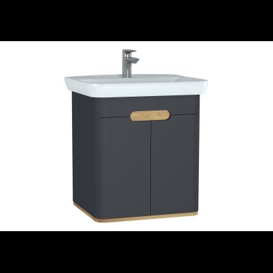 Sento lavabo dolabı, kapaklı, ayaksız, 65 cm, mat antrasit