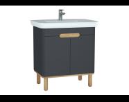 60808 - Sento lavabo dolabı, kapaklı, ayaklı, 80 cm, mat antrasit