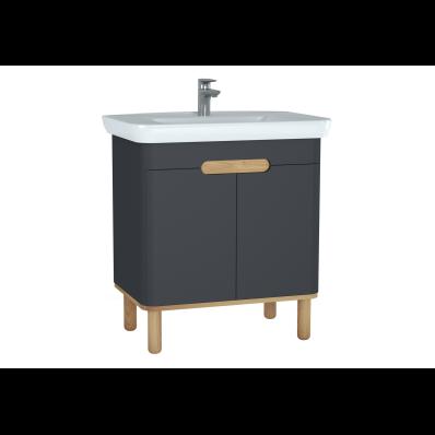 Sento lavabo dolabı, kapaklı, ayaklı, 80 cm, mat antrasit