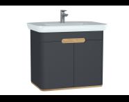 60809 - Sento lavabo dolabı, kapaklı, ayaksız, 80 cm, mat antrasit