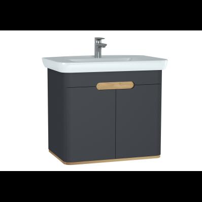 Sento lavabo dolabı, kapaklı, ayaksız, 80 cm, mat antrasit