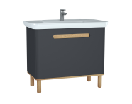 60810 - Sento lavabo dolabı, kapaklı, ayaklı, 100 cm, mat antrasit