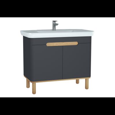 Sento lavabo dolabı, kapaklı, ayaklı, 100 cm, mat antrasit