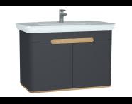 60811 - Sento lavabo dolabı, kapaklı, ayaksız, 100 cm, mat antrasit