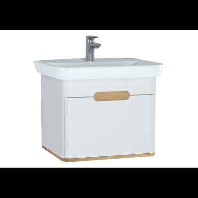 Sento lavabo dolabı, tek çekmeceli, ayaksız, 65 cm, mat beyaz