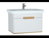 60813 - Sento lavabo dolabı, tek çekmeceli, ayaksız, 80 cm, mat beyaz