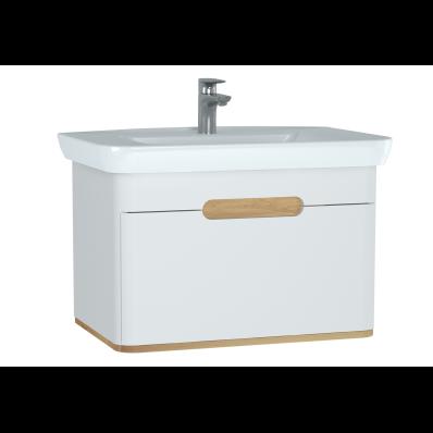 Sento lavabo dolabı, tek çekmeceli, ayaksız, 80 cm, mat beyaz