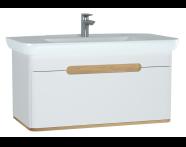 60814 - Sento lavabo dolabı, tek çekmeceli, ayaksız, 100 cm, mat beyaz
