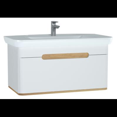 Sento lavabo dolabı, tek çekmeceli, ayaksız, 100 cm, mat beyaz