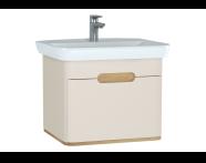 60815 - Sento lavabo dolabı, tek çekmeceli, ayaksız, 65 cm, mat krem