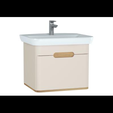 Sento lavabo dolabı, tek çekmeceli, ayaksız, 65 cm, mat krem