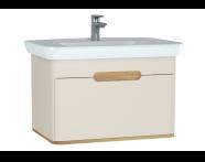 60816 - Sento lavabo dolabı, tek çekmeceli, ayaksız, 80 cm, mat krem