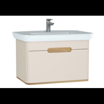 Sento lavabo dolabı, tek çekmeceli, ayaksız, 80 cm, mat krem