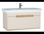 60817 - Sento lavabo dolabı, tek çekmeceli, ayaksız, 100 cm, mat krem