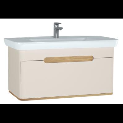 Sento lavabo dolabı, tek çekmeceli, ayaksız, 100 cm, mat krem