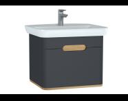 60818 - Sento lavabo dolabı, tek çekmeceli, ayaksız, 65 cm, mat antrasit