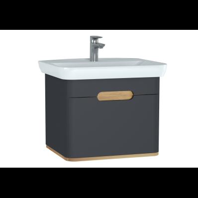 Sento lavabo dolabı, tek çekmeceli, ayaksız, 65 cm, mat antrasit