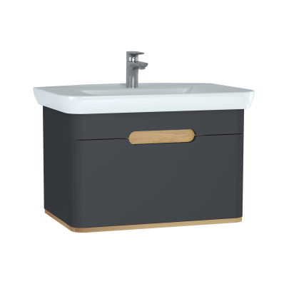 Sento Washbasin Unit, 80 cm, with 1 drawer, without legs, Matte Anthracite
