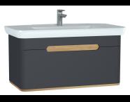 60820 - Sento lavabo dolabı, tek çekmeceli, ayaksız, 100 cm, mat antrasit