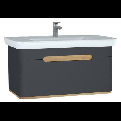 Sento lavabo dolabı, tek çekmeceli, ayaksız, 100 cm, mat antrasit