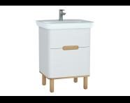 60821 - Sento lavabo dolabı, çift çekmeceli, ayaklı, 65 cm, mat beyaz