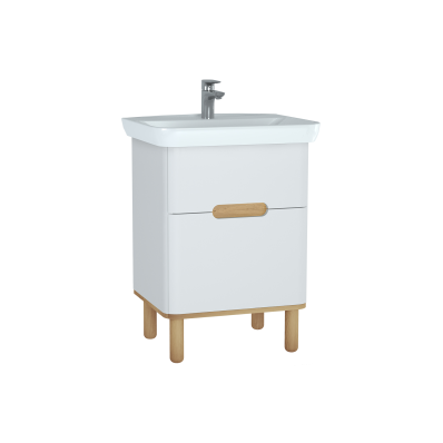 Sento lavabo dolabı, çift çekmeceli, ayaklı, 65 cm, mat beyaz