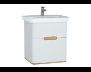 60822 - Sento lavabo dolabı, çift çekmeceli, ayaksız, 65 cm, mat beyaz