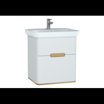 Sento lavabo dolabı, çift çekmeceli, ayaksız, 65 cm, mat beyaz