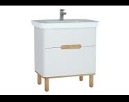 60823 - Sento lavabo dolabı, çift çekmeceli, ayaklı, 80 cm, mat beyaz