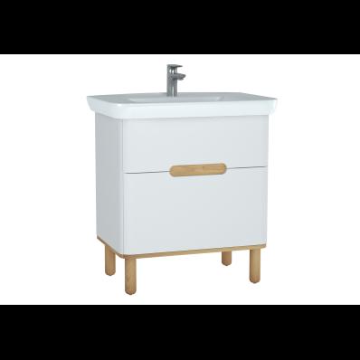 Sento lavabo dolabı, çift çekmeceli, ayaklı, 80 cm, mat beyaz
