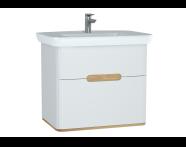 60824 - Sento lavabo dolabı, çift çekmeceli, ayaksız, 80 cm, mat beyaz