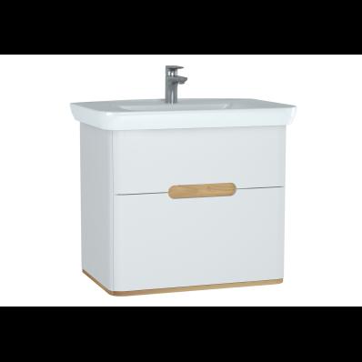Sento lavabo dolabı, çift çekmeceli, ayaksız, 80 cm, mat beyaz